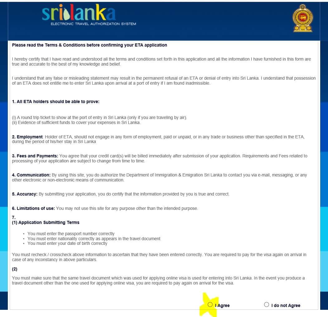 Beantragung eines Sri Lanka Visum