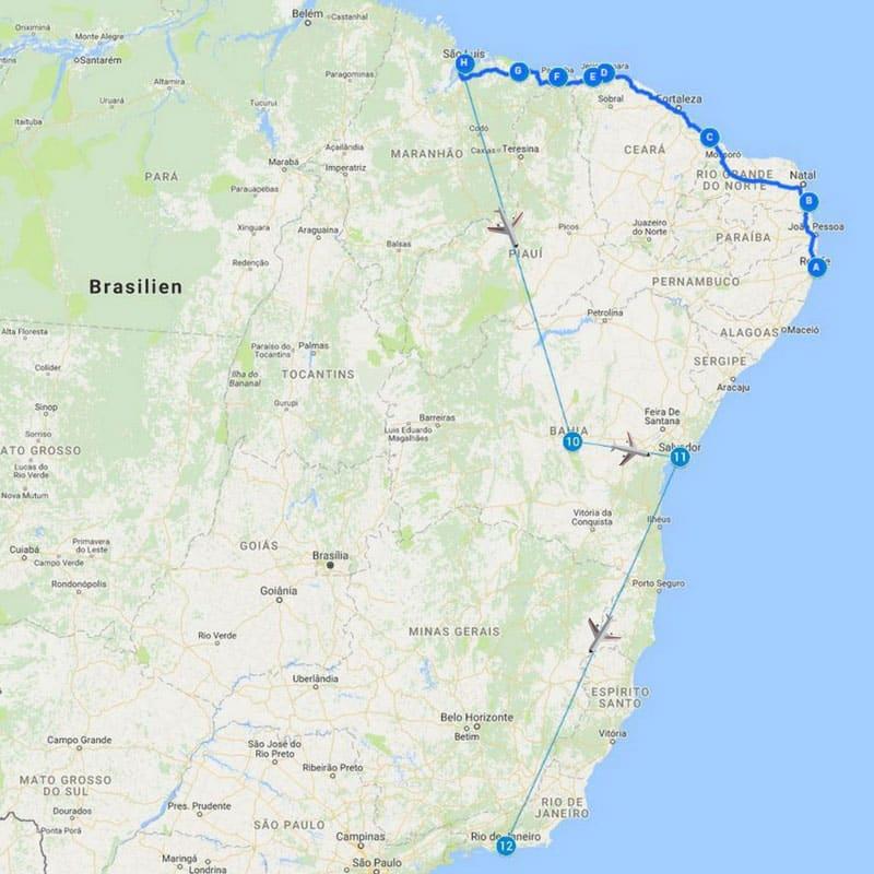 Reiseroute Brasilien für 4 Wochen